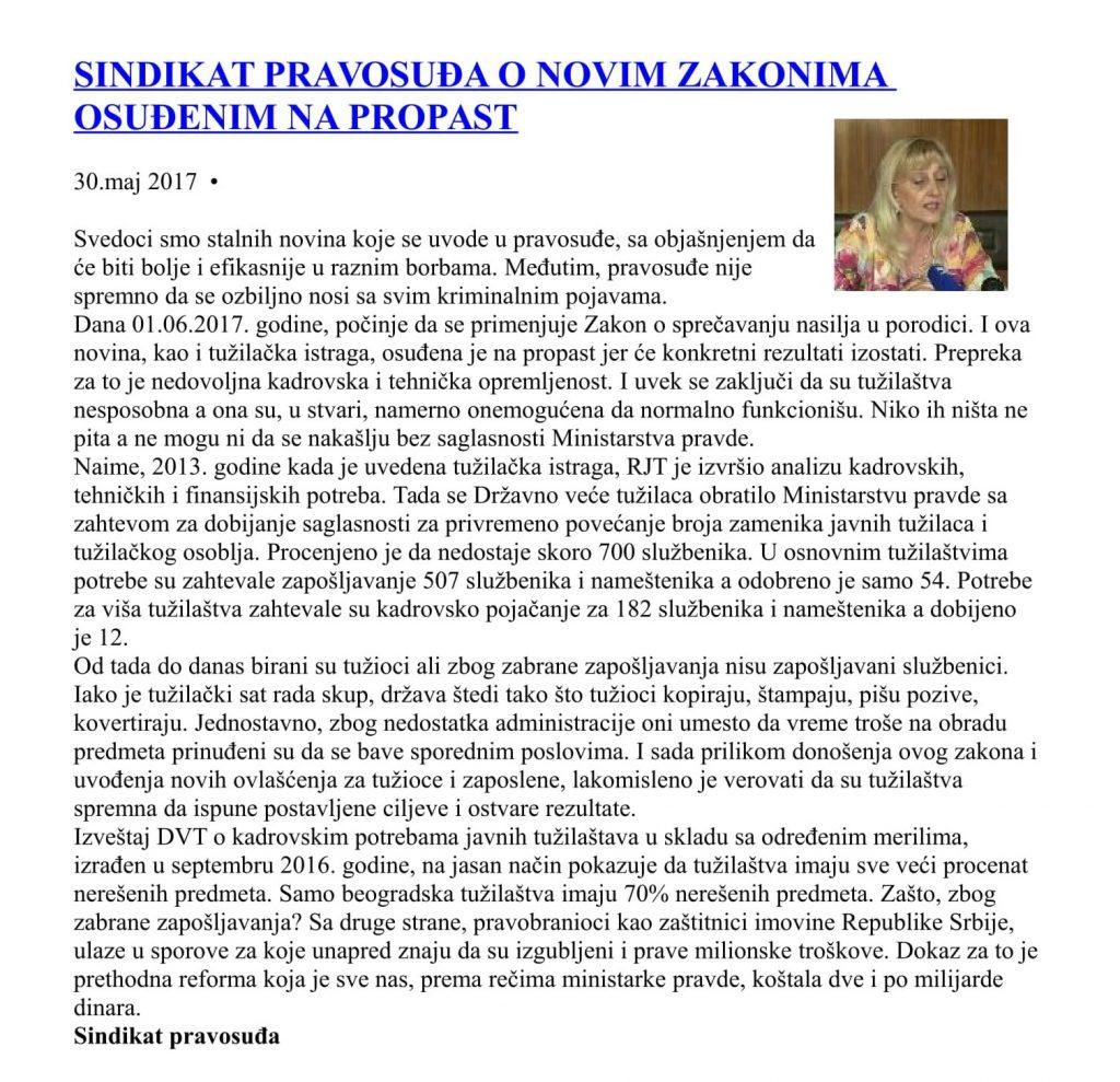 SINDIKAT PRAVOSUĐA O NOVIM ZAKONIMA OSUĐENIM NA PROPAST-1